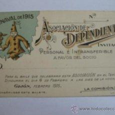 Carteles Feria: INVITACIÓN DE LA ASOCIACIÓN DE DEPENDIENTES DE GIJÓN PARA EL BAILE DE CARNAVAL,TEATRO DINDURRA, 1915. Lote 45178722