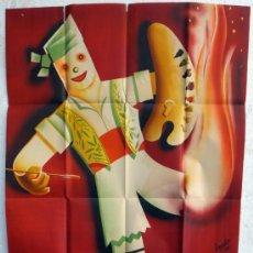 Carteles Feria: CARTEL FERIAS Y FIESTAS, FALLAS DE VALENCIA 1951 , ILUSTRADOR EYELO , ORIGINAL. Lote 37380801
