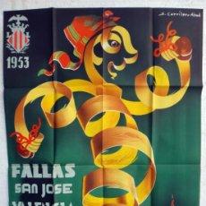 Affissi Fiera: CARTEL FERIAS Y FIESTAS, FALLAS DE VALENCIA 1953 , ILUSTRADOR CARRILERO ABAD , ORIGINAL. Lote 37380823