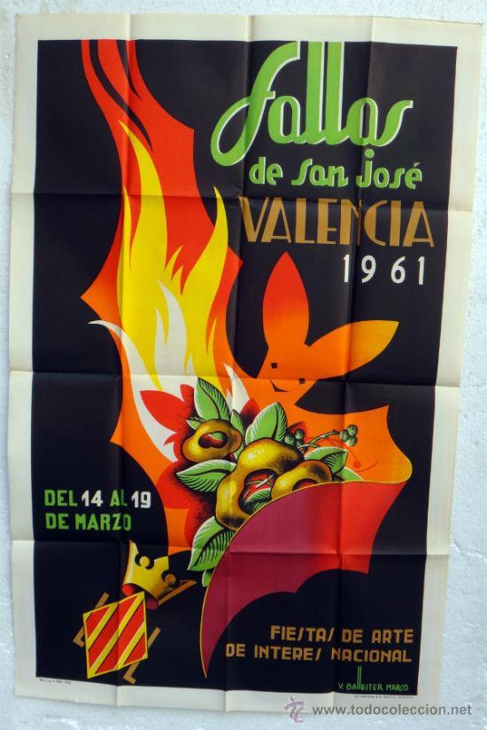 CARTEL FERIAS Y FIESTAS, FALLAS DE VALENCIA 1961 , ILUSTRADOR BALLESTER MARCO , ORIGINAL (Coleccionismo - Carteles Gran Formato - Carteles Ferias, Fiestas y Festejos)