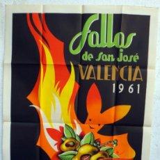 Affissi Fiera: CARTEL FERIAS Y FIESTAS, FALLAS DE VALENCIA 1961 , ILUSTRADOR BALLESTER MARCO , ORIGINAL. Lote 37380891