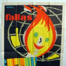 Carteles Feria: CARTEL FERIAS Y FIESTAS, FALLAS DE VALENCIA 1962 , ILUSTRADOR MINGUEZ , ORIGINAL. Lote 37380910