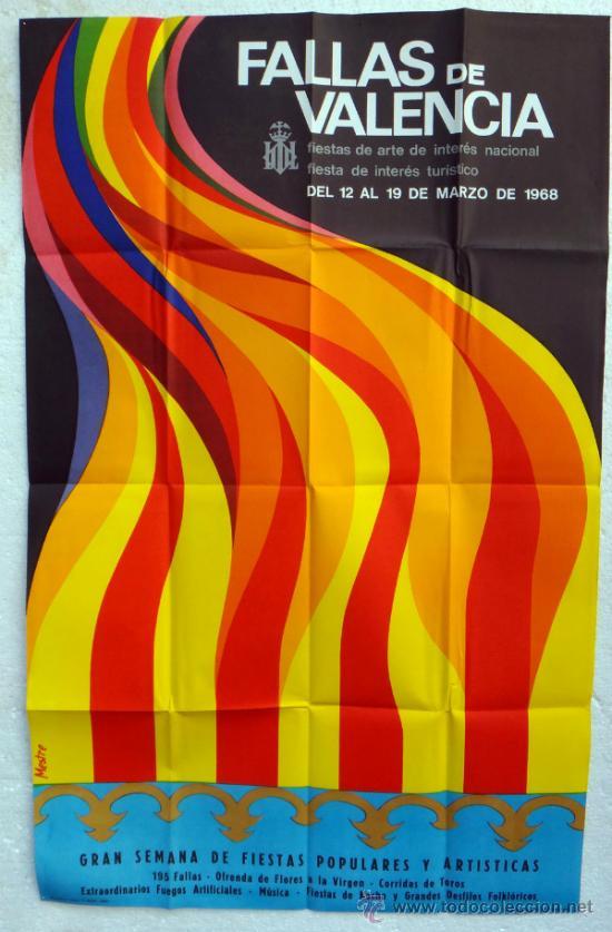 CARTEL FERIAS Y FIESTAS, FALLAS DE VALENCIA 1968 , ILUSTRADOR MESTRE , ORIGINAL (Coleccionismo - Carteles Gran Formato - Carteles Ferias, Fiestas y Festejos)