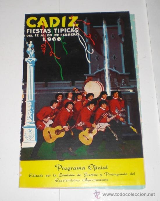 PROGRAMA OFICIAL (CUADRIPTICO) - CARNAVAL DE CADIZ - 1966 (EXCELENTE CONSERVACIÓN) (Coleccionismo - Carteles Gran Formato - Carteles Ferias, Fiestas y Festejos)