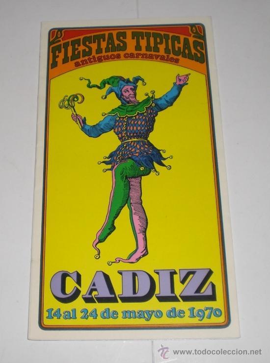 PROGRAMA OFICIAL (CUADRIPTICO) - CARNAVAL DE CADIZ - 1970 (EXCELENTE CONSERVACIÓN) (Coleccionismo - Carteles Gran Formato - Carteles Ferias, Fiestas y Festejos)