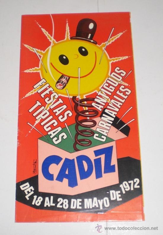 PROGRAMA OFICIAL (CUADRIPTICO) - CARNAVAL DE CADIZ - 1972 (EXCELENTE CONSERVACIÓN) (Coleccionismo - Carteles Gran Formato - Carteles Ferias, Fiestas y Festejos)