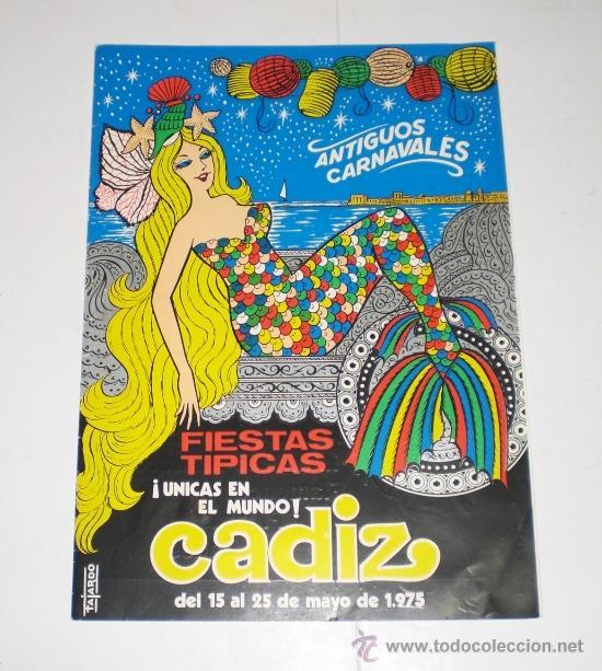 PROGRAMA OFICIAL (TRIPTICO) - CARNAVAL DE CADIZ - 1975 (EXCELENTE CONSERVACIÓN) (Coleccionismo - Carteles Gran Formato - Carteles Ferias, Fiestas y Festejos)