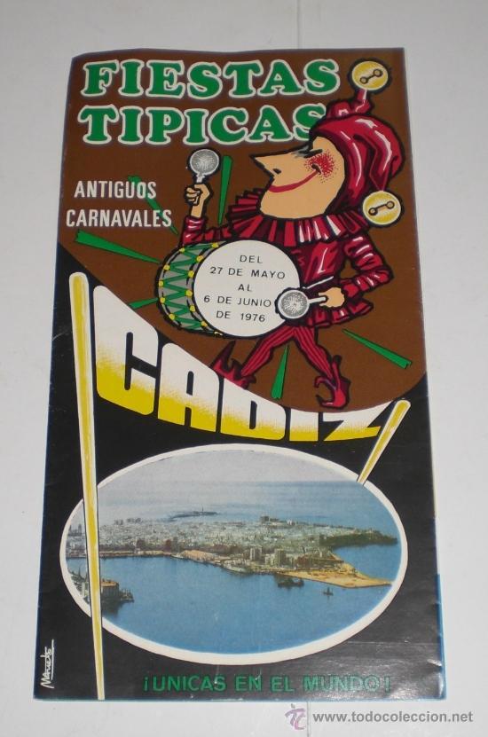 PROGRAMA OFICIAL (CUADRIPTICO) - CARNAVAL DE CADIZ - 1976 (EXCELENTE CONSERVACIÓN) (Coleccionismo - Carteles Gran Formato - Carteles Ferias, Fiestas y Festejos)