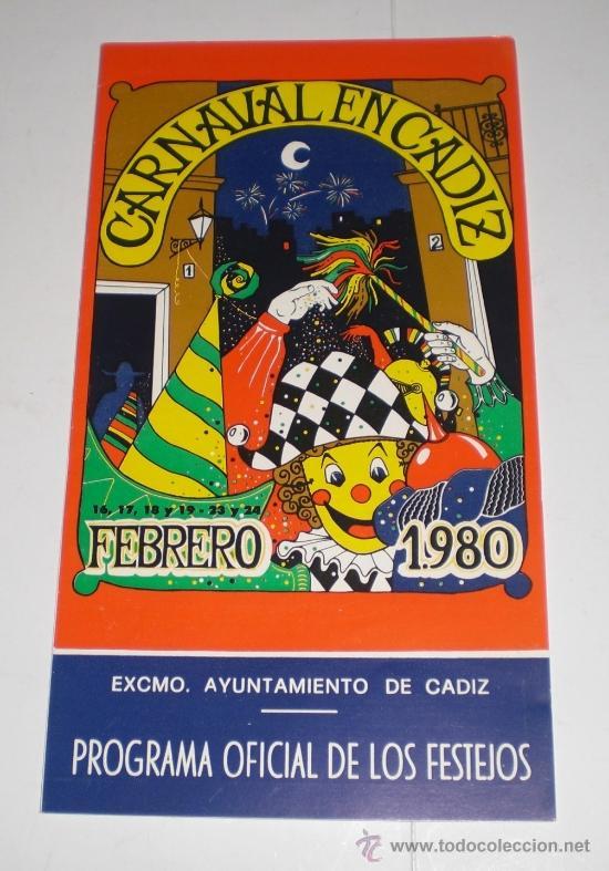 PROGRAMA OFICIAL (TRIPTICO) - CARNAVAL DE CADIZ - 1980 (EXCELENTE CONSERVACIÓN) (Coleccionismo - Carteles Gran Formato - Carteles Ferias, Fiestas y Festejos)