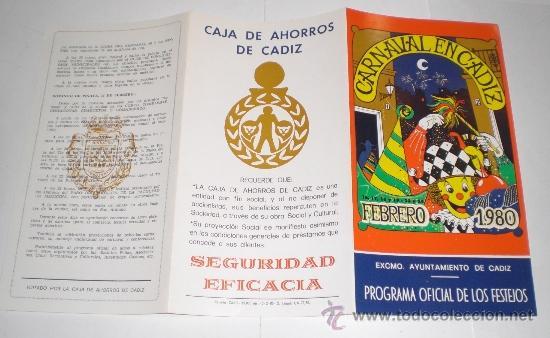 Carteles Feria: Programa Oficial (triptico) - Carnaval de Cadiz - 1980 (excelente conservación) - Foto 3 - 38159240