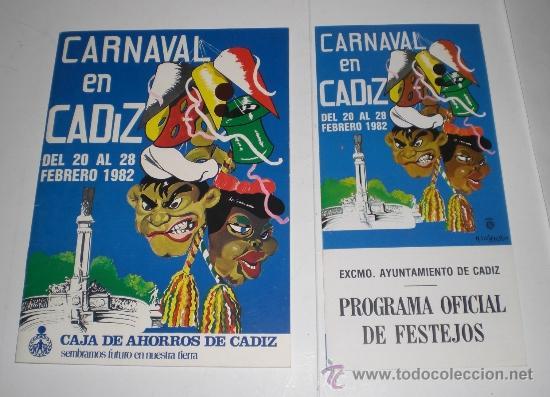 PROGRAMA OFICIAL - CARNAVAL DE CADIZ - 1982 (EXCELENTE CONSERVACIÓN) (Coleccionismo - Carteles Gran Formato - Carteles Ferias, Fiestas y Festejos)