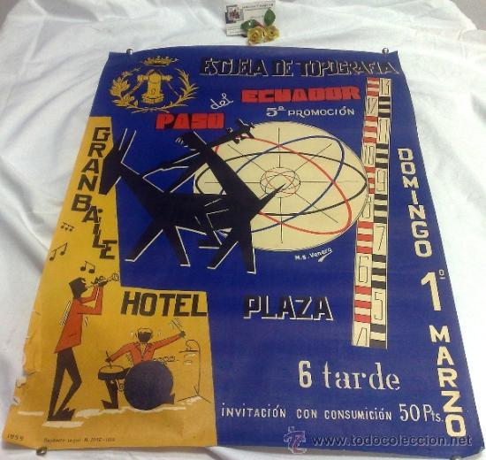 DOMINGO 1º DE MARZO DE 1959.- GRAN BAILE HOTEL PLAZA. DISEÑO M.S. VENERO. (Coleccionismo - Carteles Gran Formato - Carteles Ferias, Fiestas y Festejos)