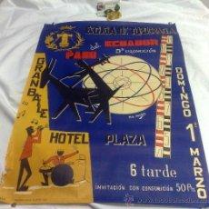 Carteles Feria: DOMINGO 1º DE MARZO DE 1959.- GRAN BAILE HOTEL PLAZA. DISEÑO M.S. VENERO.. Lote 38375586