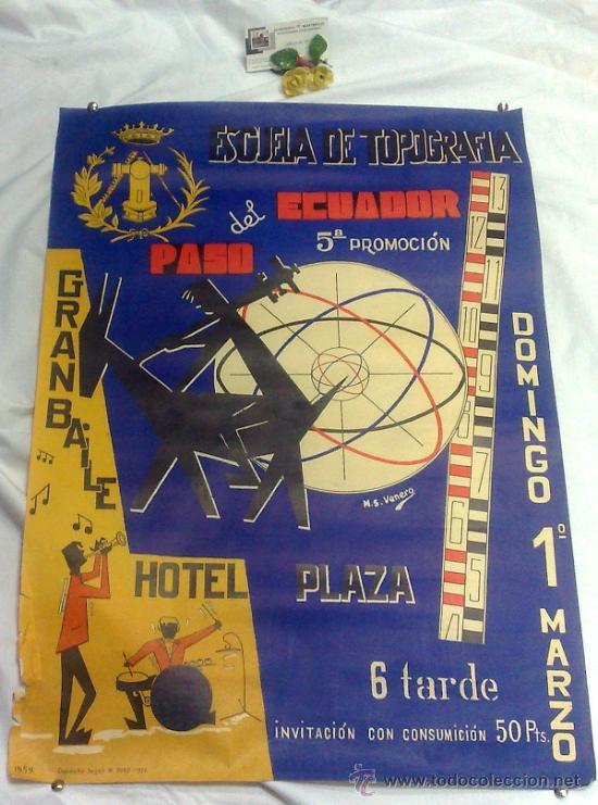 Carteles Feria: DOMINGO 1º DE MARZO DE 1959.- GRAN BAILE HOTEL PLAZA. DISEÑO M.S. VENERO. - Foto 10 - 38375586