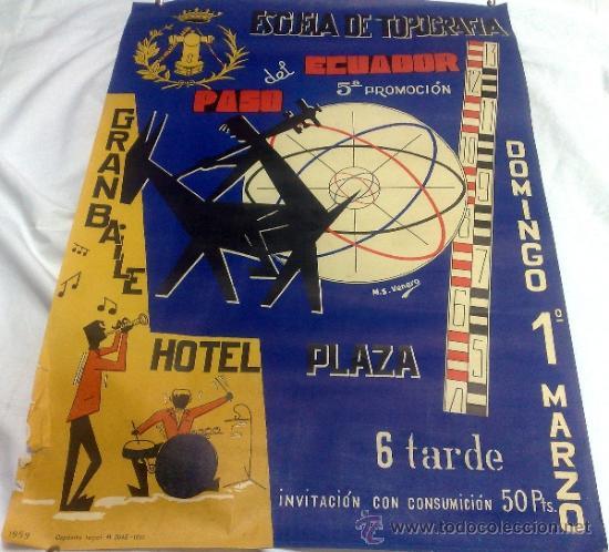 Carteles Feria: DOMINGO 1º DE MARZO DE 1959.- GRAN BAILE HOTEL PLAZA. DISEÑO M.S. VENERO. - Foto 21 - 38375586