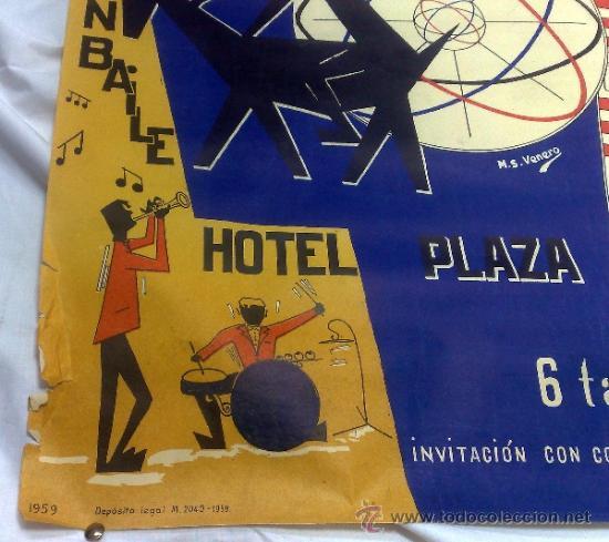 Carteles Feria: DOMINGO 1º DE MARZO DE 1959.- GRAN BAILE HOTEL PLAZA. DISEÑO M.S. VENERO. - Foto 5 - 38375586