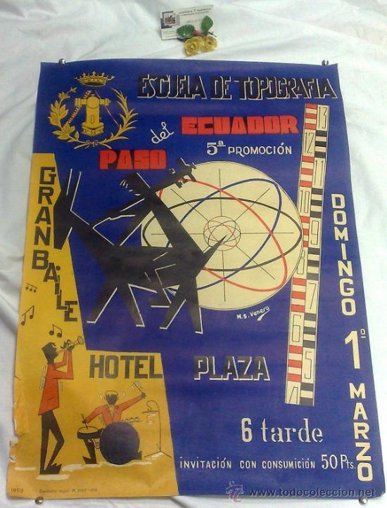 Carteles Feria: DOMINGO 1º DE MARZO DE 1959.- GRAN BAILE HOTEL PLAZA. DISEÑO M.S. VENERO. - Foto 2 - 38375586