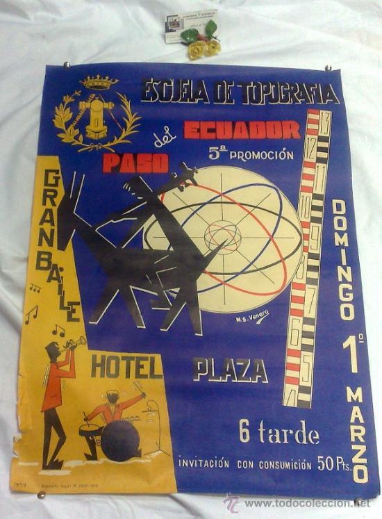 Carteles Feria: DOMINGO 1º DE MARZO DE 1959.- GRAN BAILE HOTEL PLAZA. DISEÑO M.S. VENERO. - Foto 3 - 38375586
