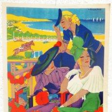 Carteles Feria: CARTEL FERIAS Y FIESTAS, DEPORTIVAS INVIERNO MALAGA 1946 , RAMOS ROSA , ORIGINAL, LITOGRAFIA. Lote 89824946