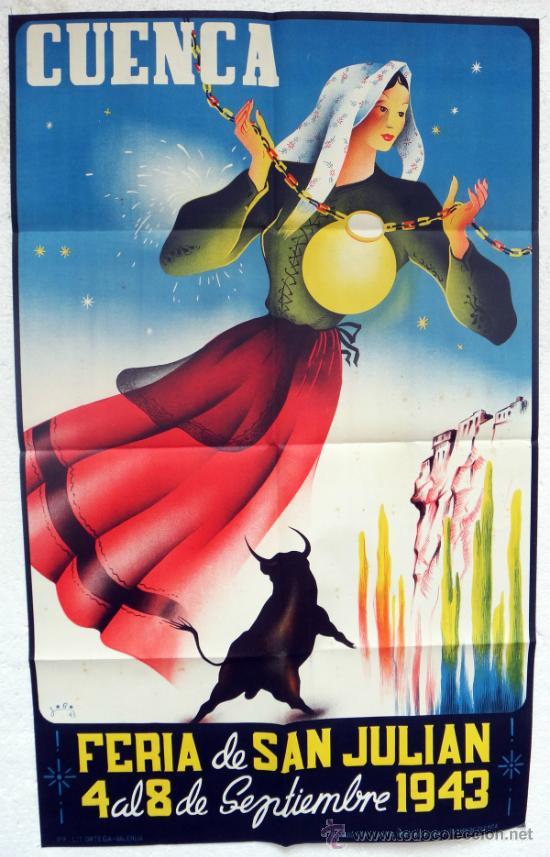 CARTEL FERIAS Y FIESTAS, CUENCA 1943 , FERIA SAN JULIAN , LOBO , ORIGINAL, LITOGRAFIA (Coleccionismo - Carteles Gran Formato - Carteles Ferias, Fiestas y Festejos)