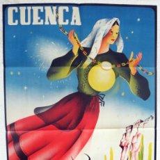 Carteles Feria: CARTEL FERIAS Y FIESTAS, CUENCA 1943 , FERIA SAN JULIAN , LOBO , ORIGINAL, LITOGRAFIA. Lote 38403457