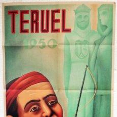 Carteles Feria: CARTEL FERIAS Y FIESTAS, TERUEL 1950 SAN FERNANDO , NOVELLA , ORIGINAL, LITOGRAFIA. Lote 38403481