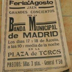 Carteles Feria: MUY ANTIGUO(APRX.CASI 100 AÑOS) CARTEL DE FERIA DE AGOSTO DE JAEN. Lote 39025998
