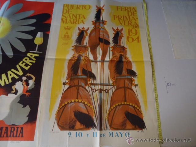 FERIA DEL PUERTO DE SANTA MARIA CADIZ 1964 PRIMAVERA ORIGINAL GRAN FORMATO (Coleccionismo - Carteles Gran Formato - Carteles Ferias, Fiestas y Festejos)