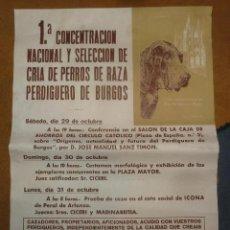 Carteles Feria: CARTEL POSTER PRIMERA CONCENTRACION NACIONAL Y SELECCION DE CRIA DE PERROS DE RAZA PERDIGUERO BURGOS. Lote 39424532
