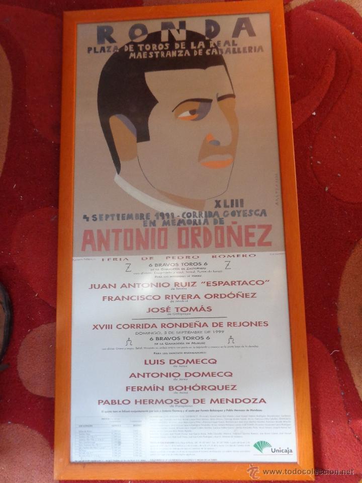 Carteles Feria: ORIGINAL CARTEL GOYESCA DE RONDA ANTONIO ORDÓÑEZ ACTUANDO JOSÉ TOMÁS AUTOR EDUARDO ARROYO - Foto 9 - 40222725