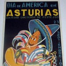 Carteles Feria: ANTIGUO CARTEL DE ASTURIAS DIA DE AMERICA, OVIEDO, SOCIEDAD OVETENSE DE FESTEJOS, 23 DE SEPTIEMBRE D. Lote 38281006