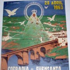Carteles Feria: ANTIGUO CARTEL DE MONTORO (CORDOBA), COFRADÍA DE LA FUENSANTA, FIESTA CENTENARIA, 28 DE ABRIL DE 196. Lote 38281032
