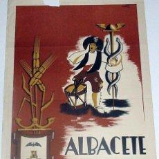 Carteles Feria: ANTIGUO CARTEL DE ALBACETE GRAN FERIA Y FIESTAS DEL 7 AL 17 DE SEPTIEMBRE DE 1953 TIPOGRAFIA ANTON. Lote 38281055