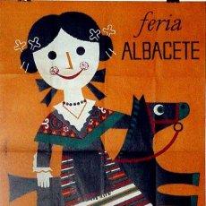 Carteles Feria: ANTIGUO CARTEL DE ALBACETE FERIA DE SEPTIEMBRE DE 1961, ILUSTRADO POR SANTA MARIA – MIDE 65X95 CMS. . Lote 38281061
