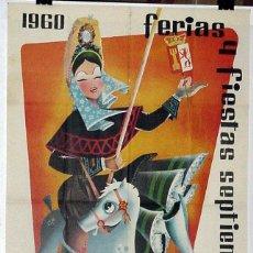 Carteles Feria: ANTIGUO CARTEL DE CACERES FERIAS Y FIESTAS DE SEPTIEMBRE DE 1960, ILUSTRADO POR FELIX LÓPEZ - MIDE 1. Lote 38281127