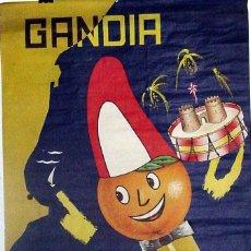 Affissi Fiera: ANTIGUO CARTEL DE GANDIA FERIA Y FIESTAS DE SAN FRANCISCO DE BORJA, DEL 9 AL 20 DE OCTUBRE DE 1963,. Lote 38281131