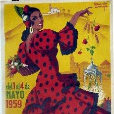Carteles Feria: ANTIGUO CARTEL DE LUCENA FIESTAS ARACELITANAS, DEL 1 AL 4 DE MAYO DE 1959, ILUSTRADO POR R. ANAYA –. Lote 38281138