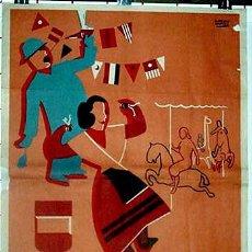 Carteles Feria: ANTIGUO CARTEL FERIA FIESTAS, PUERTOLLANO 1957 CIUDAD REAL, ILUSTRADOR CABEZOS CASTRO – MIDE 100 X 7. Lote 38281255