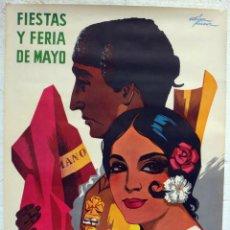 Carteles Feria: CARTEL FERIAS Y FIESTAS DE MAYO , CORDOBA 1968 , OFSSET GRANDE , MANOLA Y TORERO, , ORIGINAL, RB. Lote 195161247