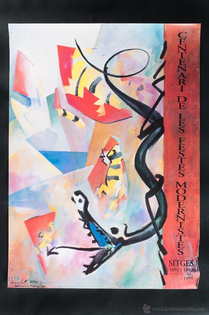 CARTEL DE CENTENARIO DE LAS FIESTAS MODERNISTAS DE SITGES, 1892-1992, (Coleccionismo - Carteles Gran Formato - Carteles Ferias, Fiestas y Festejos)