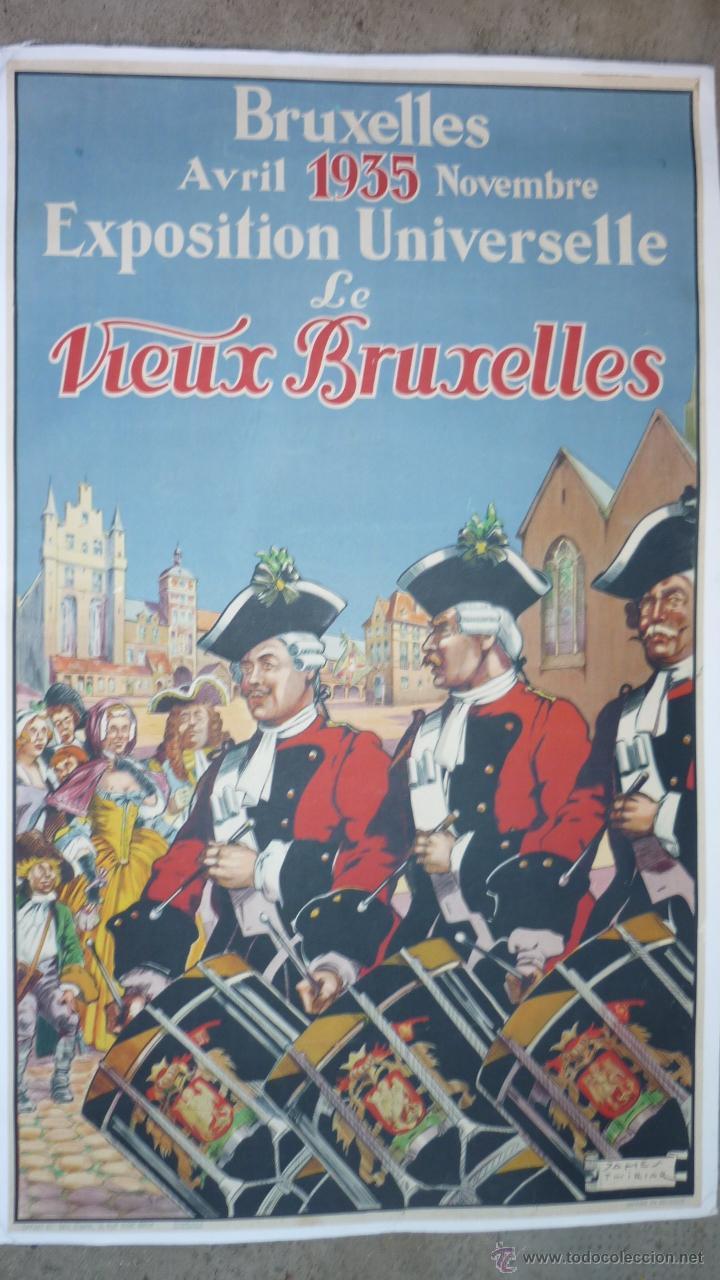 CARTEL ORIGINAL 1935 (98 X 60 CTMS.) EXPOSITION UNIVERSELLE LE VIEUX BRUXELLES. ENTELADO (Coleccionismo - Carteles Gran Formato - Carteles Ferias, Fiestas y Festejos)
