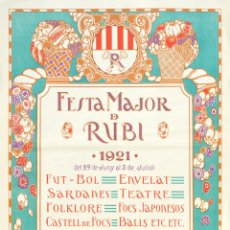 Carteles Feria: CARTEL 'FIESTA MAYOR DE RUBÍ 1921. RUBÍ (VALLÈS OCCIDENTAL). AUTOR: C.M. BARÓ . Lote 42424618