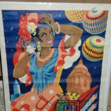 Carteles Feria: (M) CARTEL MALAGA 1958 , GRANDES FIESTAS ( ORIGINAL ) 100 X 70 CM, RESTAURADO. Lote 43099363