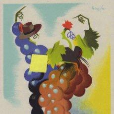 Carteles Feria: PUBLICIDAD JEREZ CADIZ ANDALUCIA VENDIMIA 1949 VINO FERIA UVA TOROS CABALLOS GANADO FUTBOL CARTEL. Lote 43421681