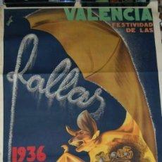 Carteles Feria: CARTEL FALLAS DE VALENCIA AÑO 1936 ORIGINAL ILUSTRADO POR CANET . Lote 43644111