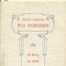 Carteles Feria: PROGRAMA TRIPTICO DE UNA EXTRAORDINARIA FUNCIÓ EN BARCELONA DE 1908. Lote 44243853