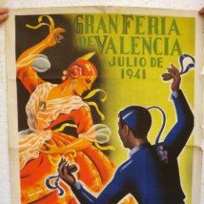 Carteles Feria: CARTEL FERIAS Y FIESTAS , VALENCIA FERIA JULIO 1941 , GARCIA MOYA, ORIGINAL , H. Lote 44286821