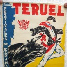 Carteles Feria: CARTEL FERIAS Y FIESTAS FIESTAS DEL ANGEL TERUEL 1965 TORERO Y TORO LITOGRAFIA ORIGINAL , J. Lote 44286913