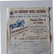 Carteles Feria: CARTEL: MALAGA XX CONCURSO HIPICO NACIONAL DELEGACION DE DEPORTE EXCMO. AYUNTAMIENTO DE MALAGA 1964. Lote 44830498