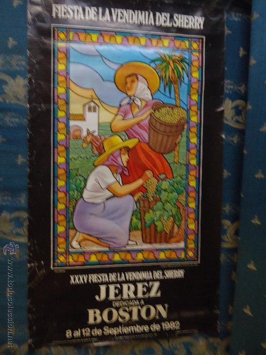 CARTEL GRANDE FIESTA DE LA VENDIMIA SHERRY 1082 DEDICADA A BOSTON - JEREZ CADIZ (Coleccionismo - Carteles Gran Formato - Carteles Ferias, Fiestas y Festejos)